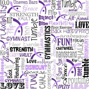 Gymnastics Words Fabric Purple