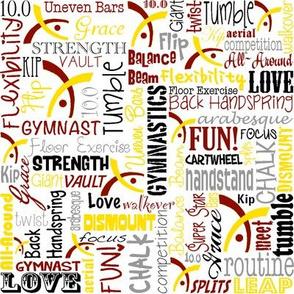 Gymnastics Words Maroon & Gold
