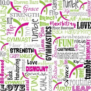 Gymnastics Words Pink & Green