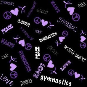 Peace Love Gymnastics Purple on Black