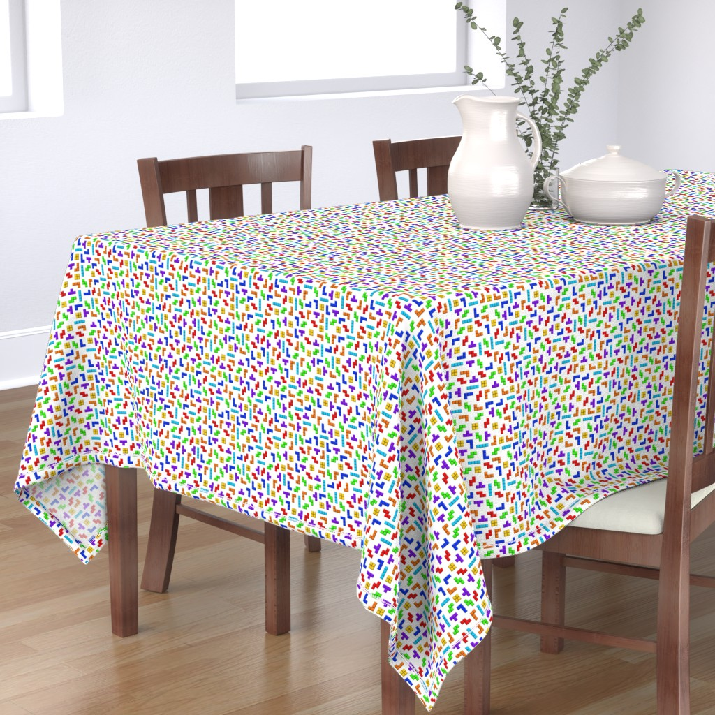 Bantam Rectangular Tablecloth featuring Tetris squares on white by spacefem