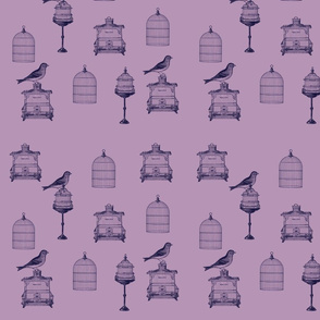 Purple Birds and Bird Cages