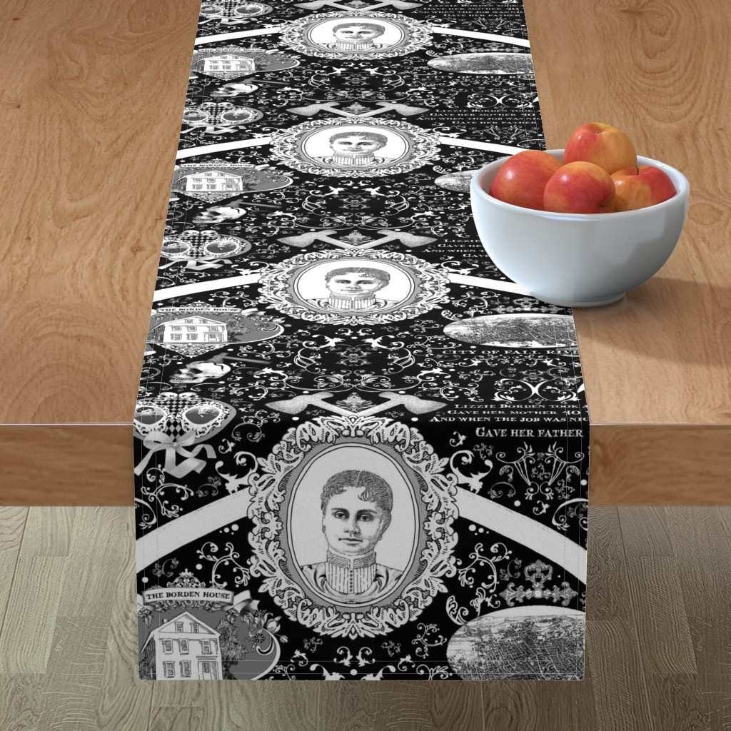 Minorca Table Runner featuring Lizzie Borden Overkill by golders