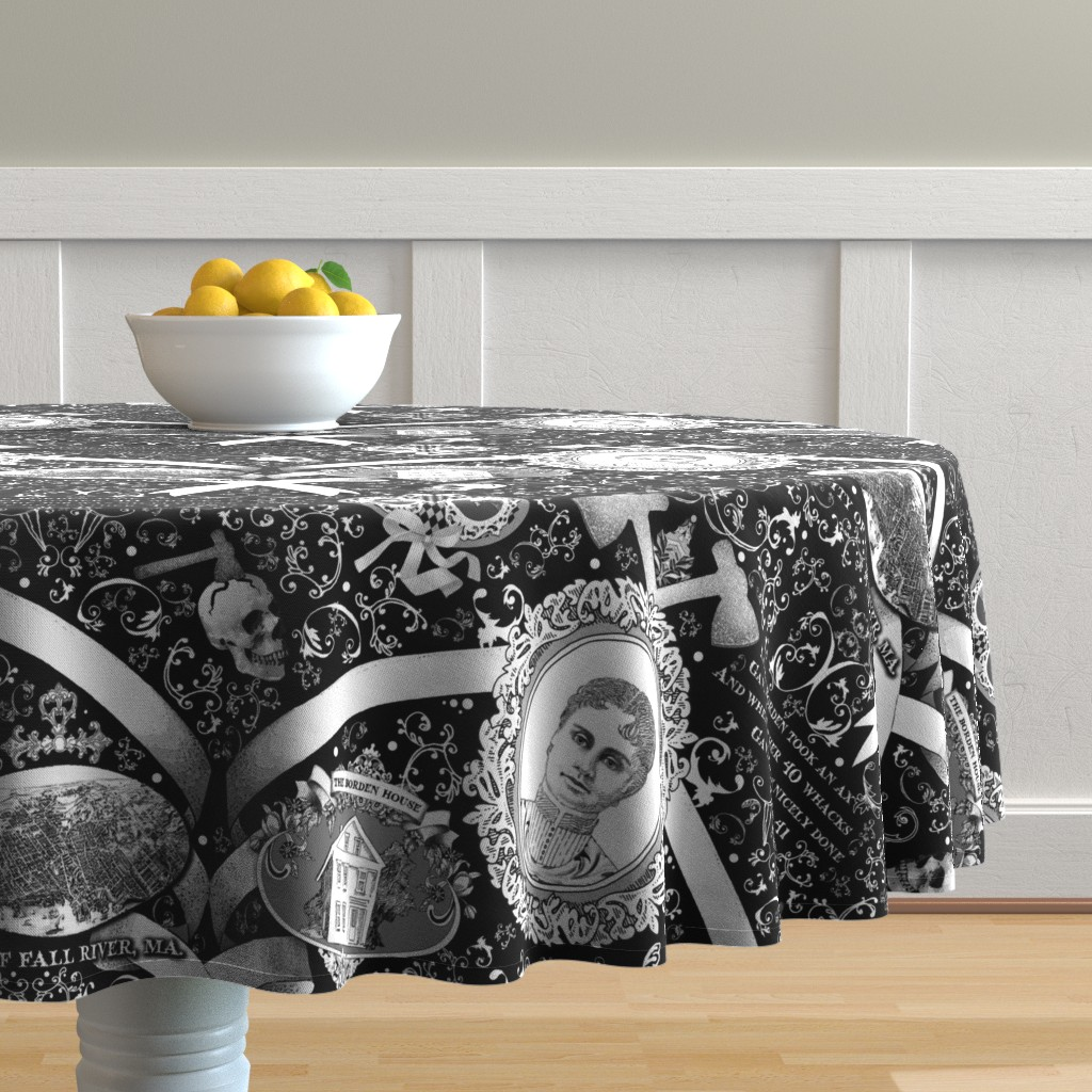 Malay Round Tablecloth featuring Lizzie Borden Overkill by golders