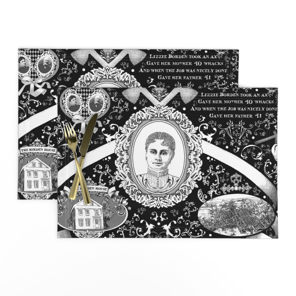 Lamona Cloth Placemats featuring Lizzie Borden Overkill by golders