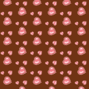 Pink Hearts on Chocolate