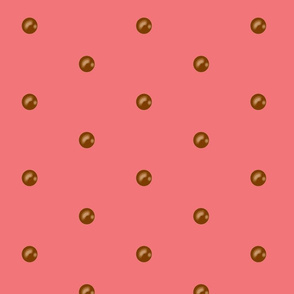 Chocolate drops on Vintage Coral