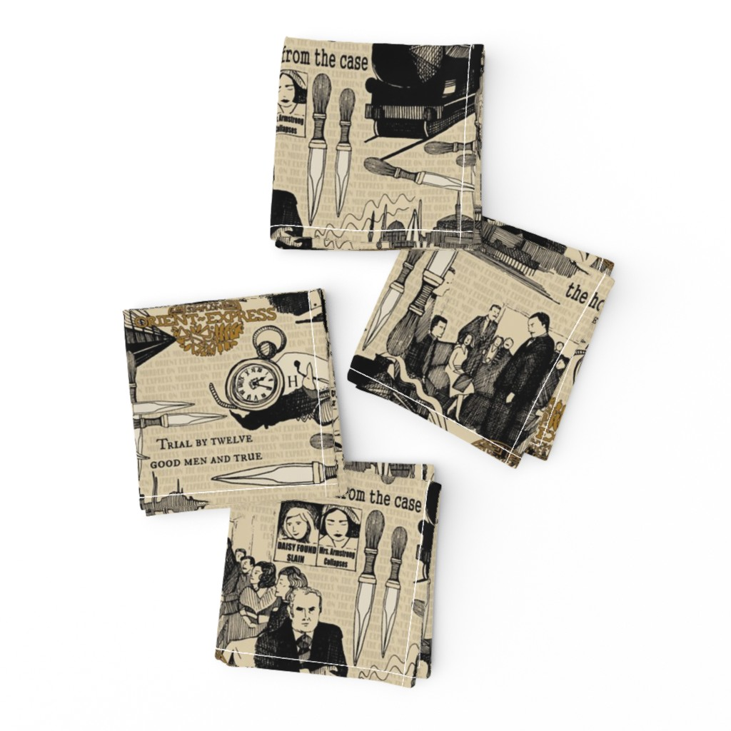Frizzle Cocktail Napkins featuring Murder on the Orient Express (Agatha Christie) by scrummy