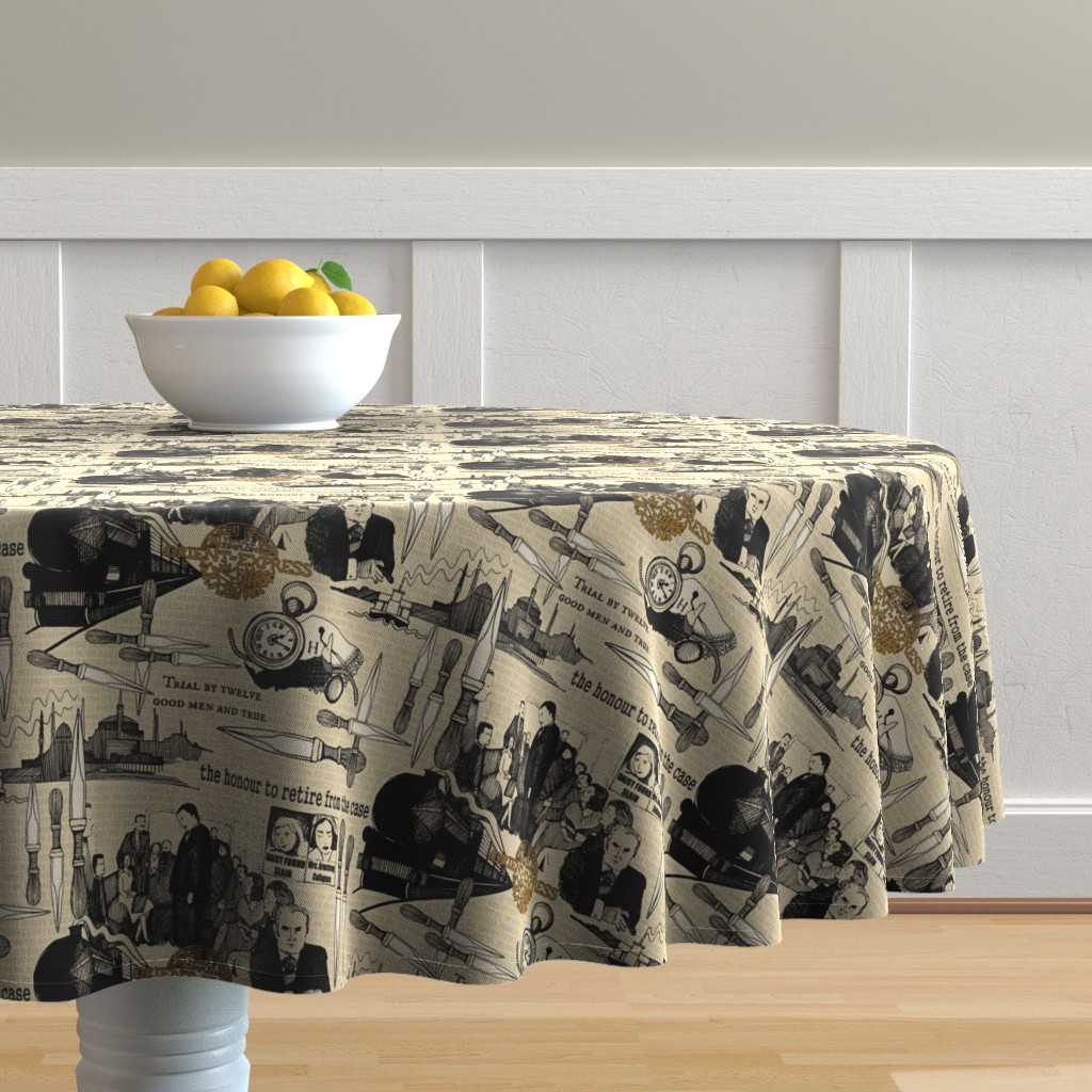 Malay Round Tablecloth featuring Murder on the Orient Express (Agatha Christie) by scrummy