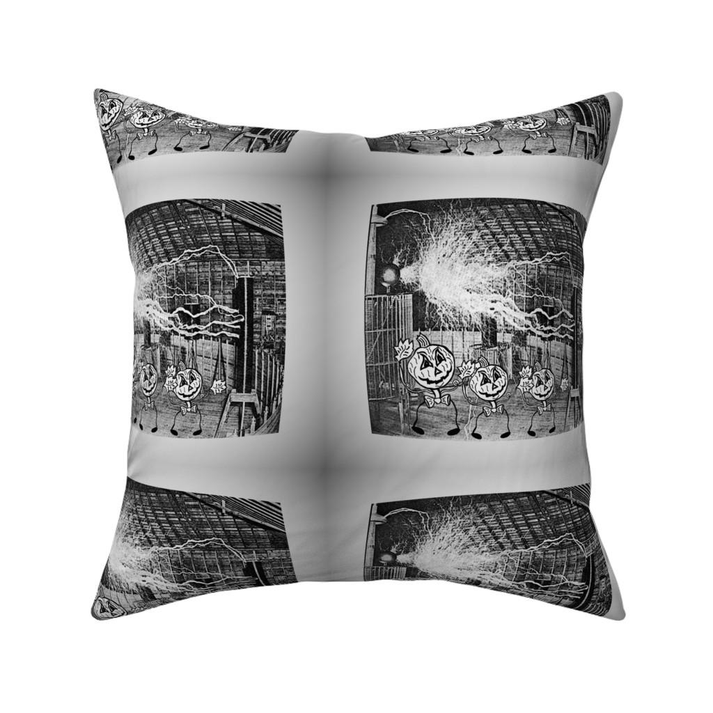 Catalan Throw Pillow featuring Halloween Jack O'Lantern Pumpkin Men in Tesla Lab by corbyscats