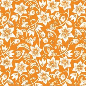 Dragonfly Bee Floral - Orange