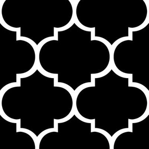 Fancy Lattice Black with White Outline