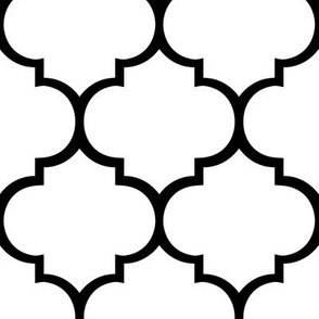 Fancy Lattice White with Black Outline