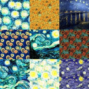 Van Gogh's Starry Night + Sunflowers | Cheater Quilt Blocks