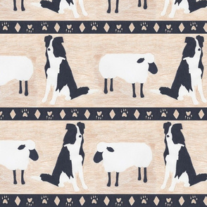 Primitive Border Collie and sheep border - Large width