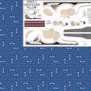 Greyhound Pillow Panel - Blue Fawn Spots Female