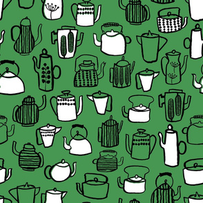 Teapots - Kelly Green/White/Black by Andrea Lauren