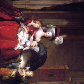 Louise Elisabeth Vigee Le Brun - Marie Antoinette and her Children - 1787 - 1 yard repeat