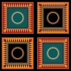 Victorian Geometric Sun Pattern Rich Colours