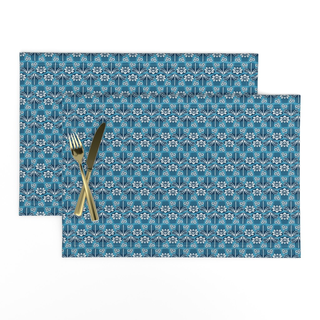 Lamona Cloth Placemats featuring Japanese combs blue by cjldesigns
