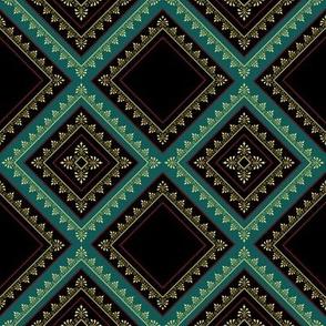 Victorian Floral Pattern Rich Colours Diagonal