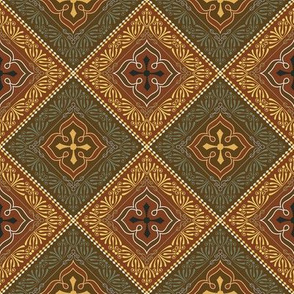 Victorian Floral Pattern Brown and Olive Diagonal