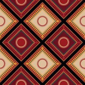 Victorian Geometric Sun Pattern Diagonal