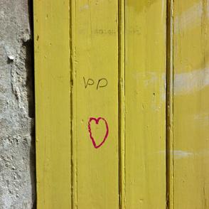 Heart on Mustard Door, large