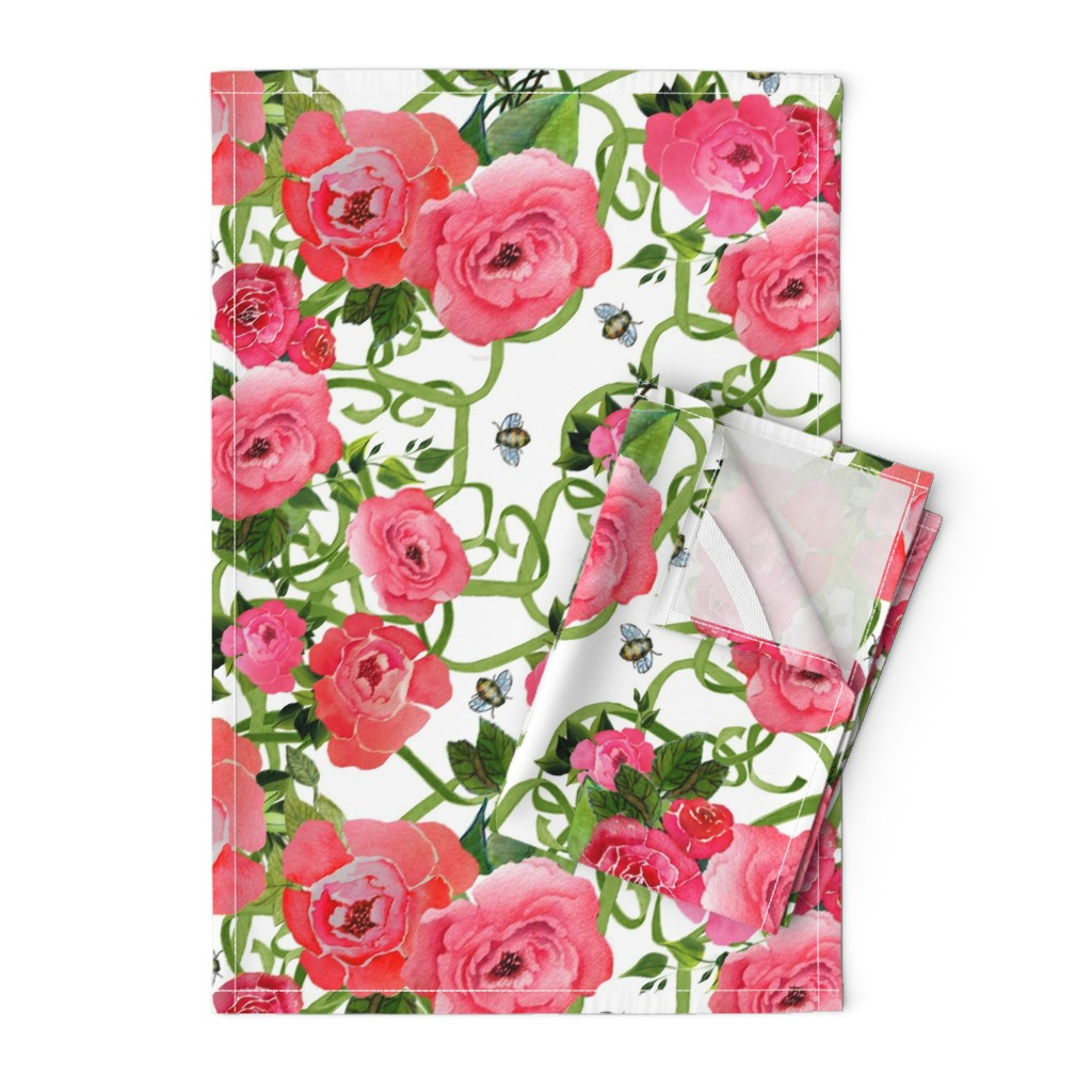 Orpington Tea Towels featuring Peonies & Bees by golders