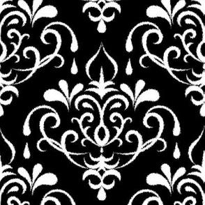 ikat damask large - black and white