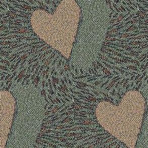 heart electric - mosaic - peach, blue, grey, Valentine Heart