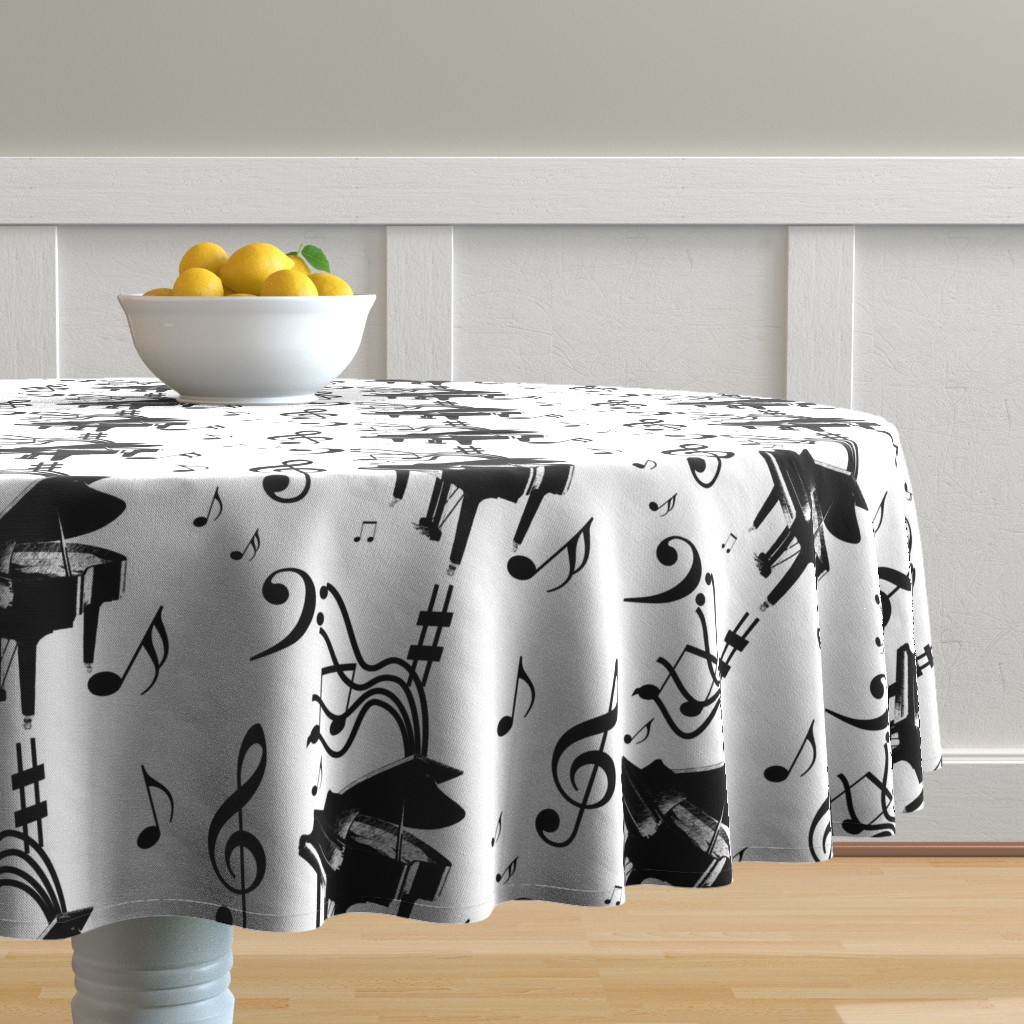Malay Round Tablecloth featuring Piano Music by leahvanlutz