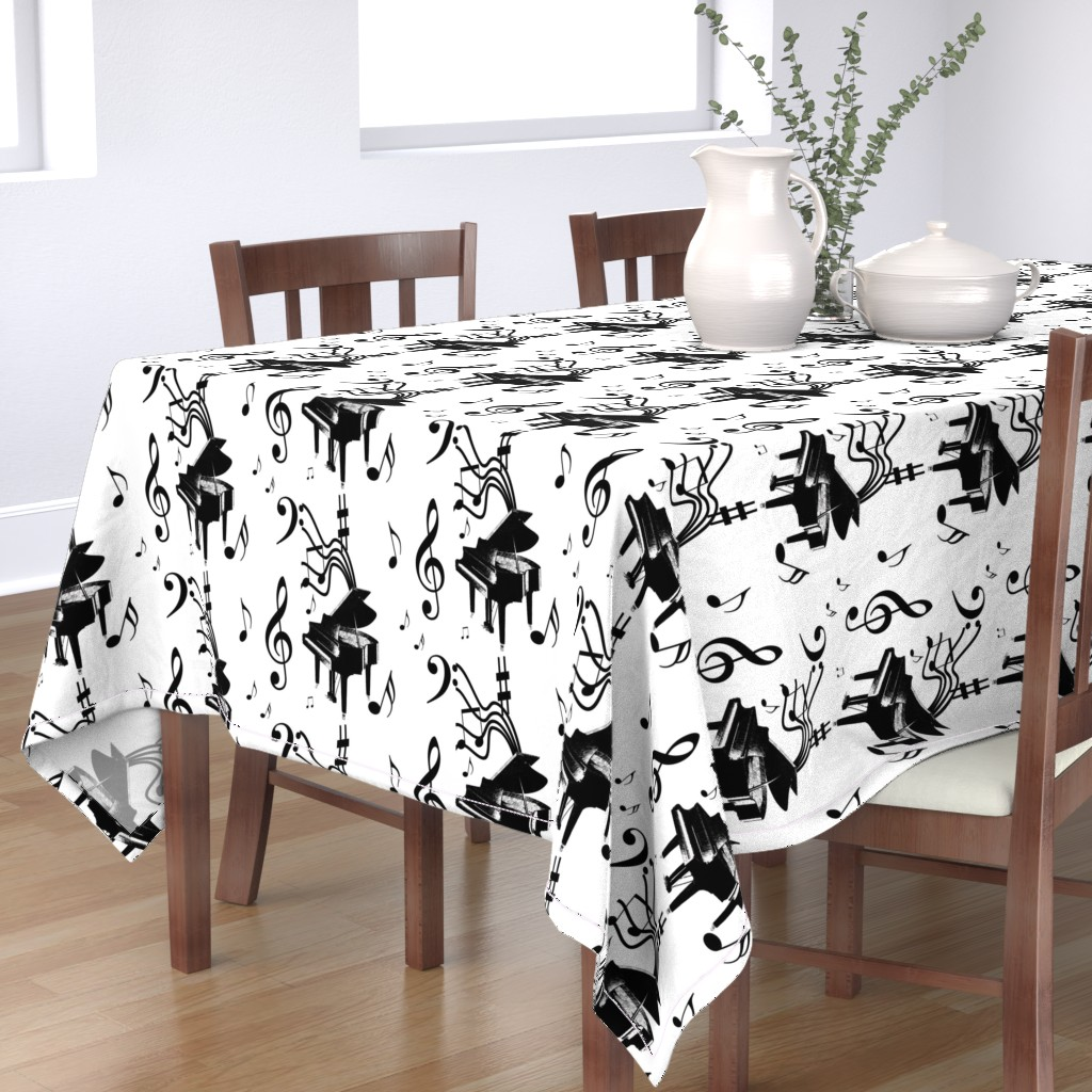 Bantam Rectangular Tablecloth featuring Piano Music by leahvanlutz