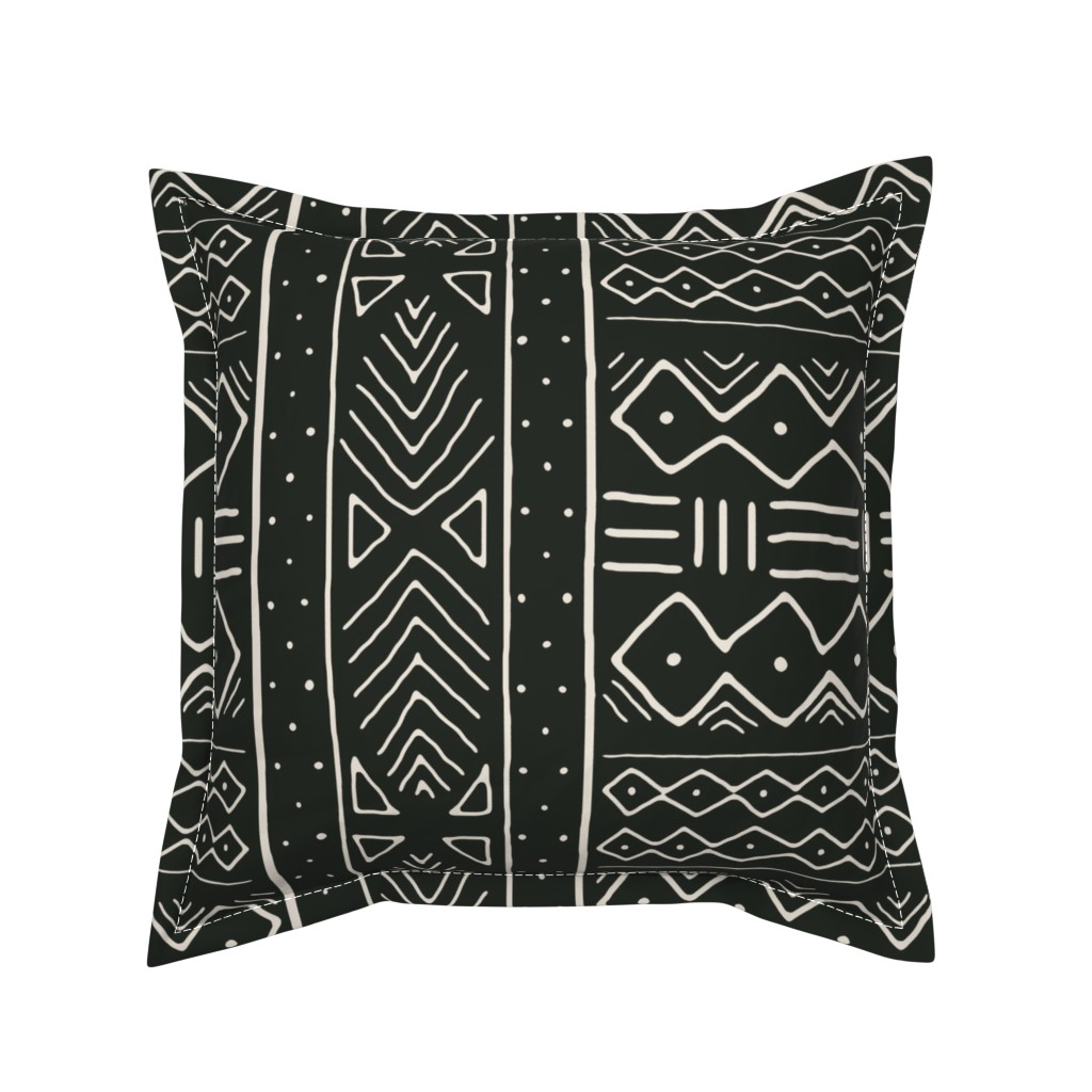 Serama Throw Pillow featuring Mudcloth in bone on black by domesticate