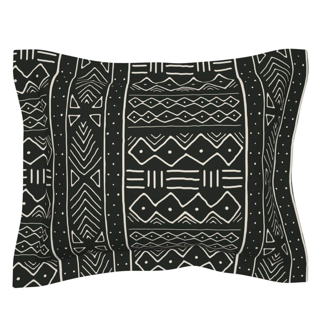 Sebright Pillow Sham featuring Mudcloth in bone on black by domesticate