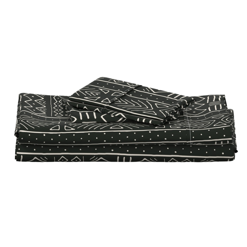Langshan Full Bed Set featuring Mudcloth in bone on black by domesticate