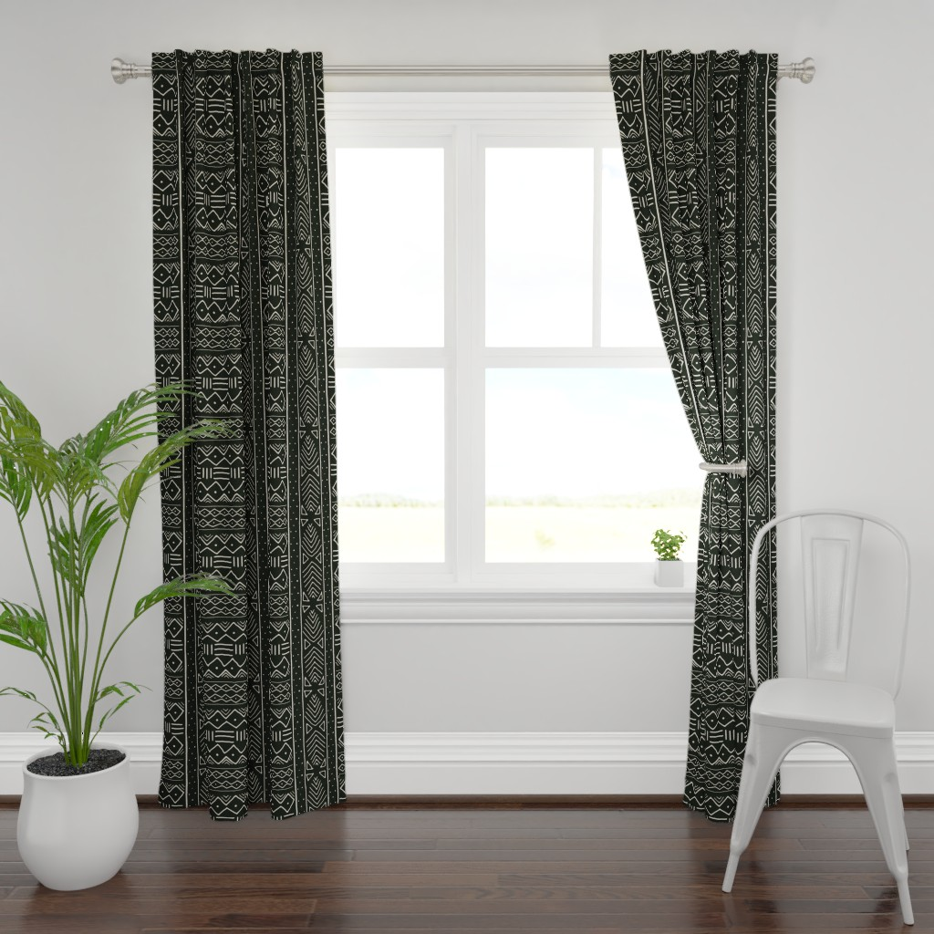 Plymouth Curtain Panel featuring Mudcloth in bone on black by domesticate