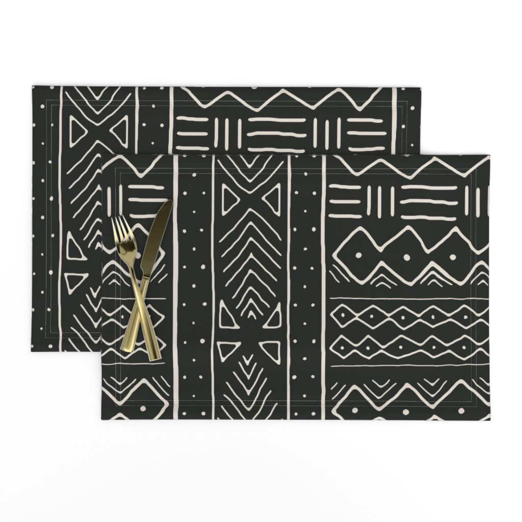 Lamona Cloth Placemats featuring Mudcloth in bone on black by domesticate