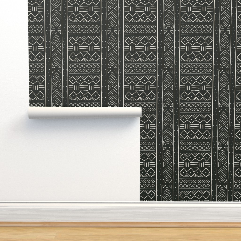Isobar Durable Wallpaper featuring Mudcloth in bone on black by domesticate