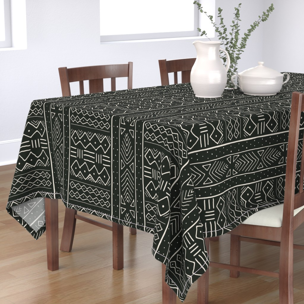 Bantam Rectangular Tablecloth featuring Mudcloth in bone on black by domesticate