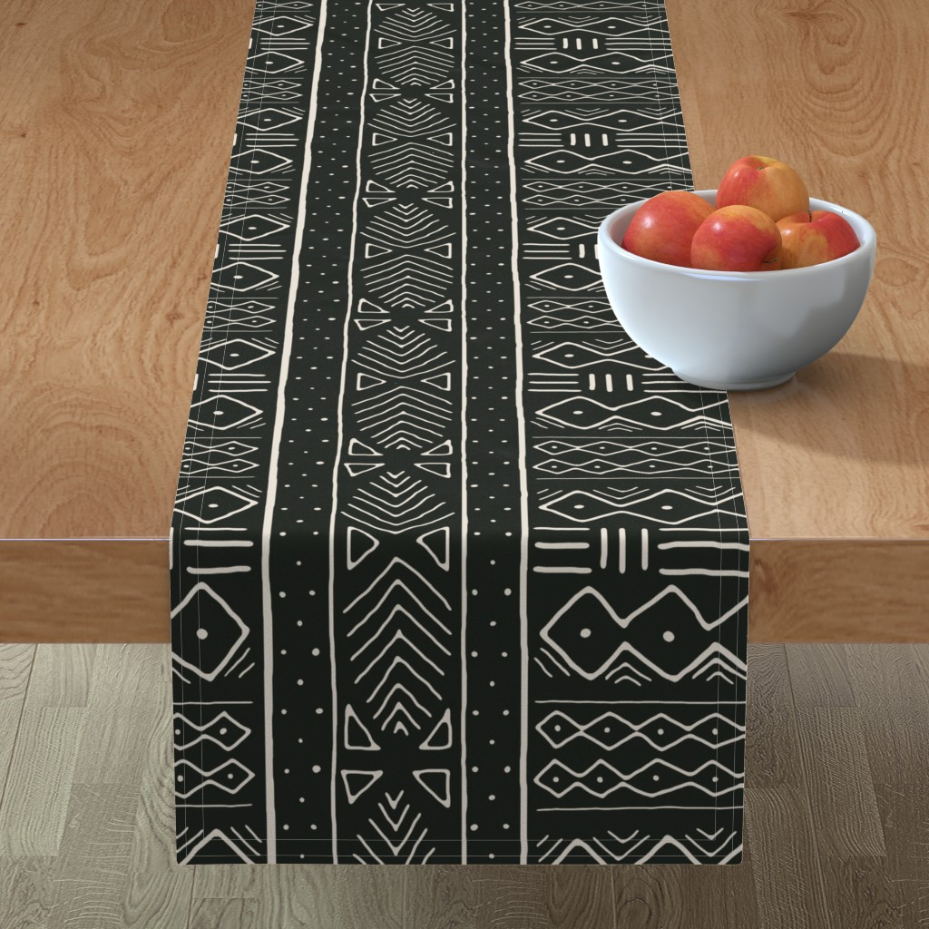Minorca Table Runner featuring Mudcloth in bone on black by domesticate
