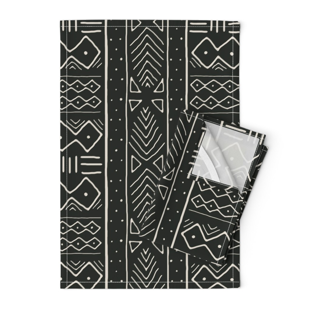 Orpington Tea Towels featuring Mudcloth in bone on black by domesticate