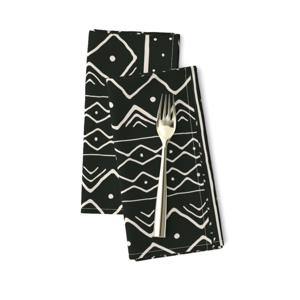 Amarela Dinner Napkins featuring Mudcloth in bone on black by domesticate