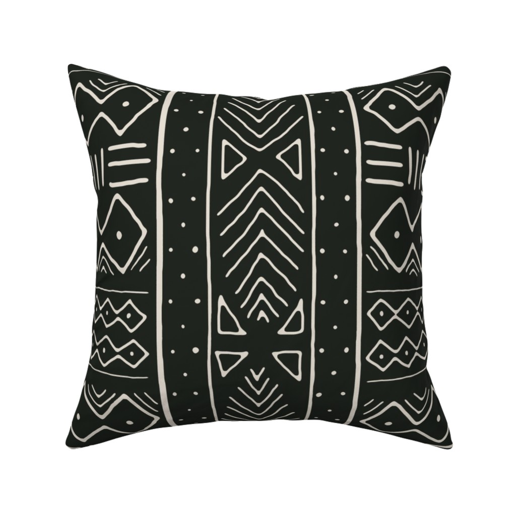 Catalan Throw Pillow featuring Mudcloth in bone on black by domesticate