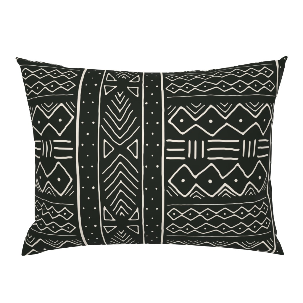 Campine Pillow Sham featuring Mudcloth in bone on black by domesticate