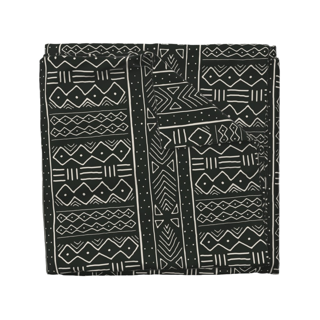 Wyandotte Duvet Cover featuring Mudcloth in bone on black by domesticate