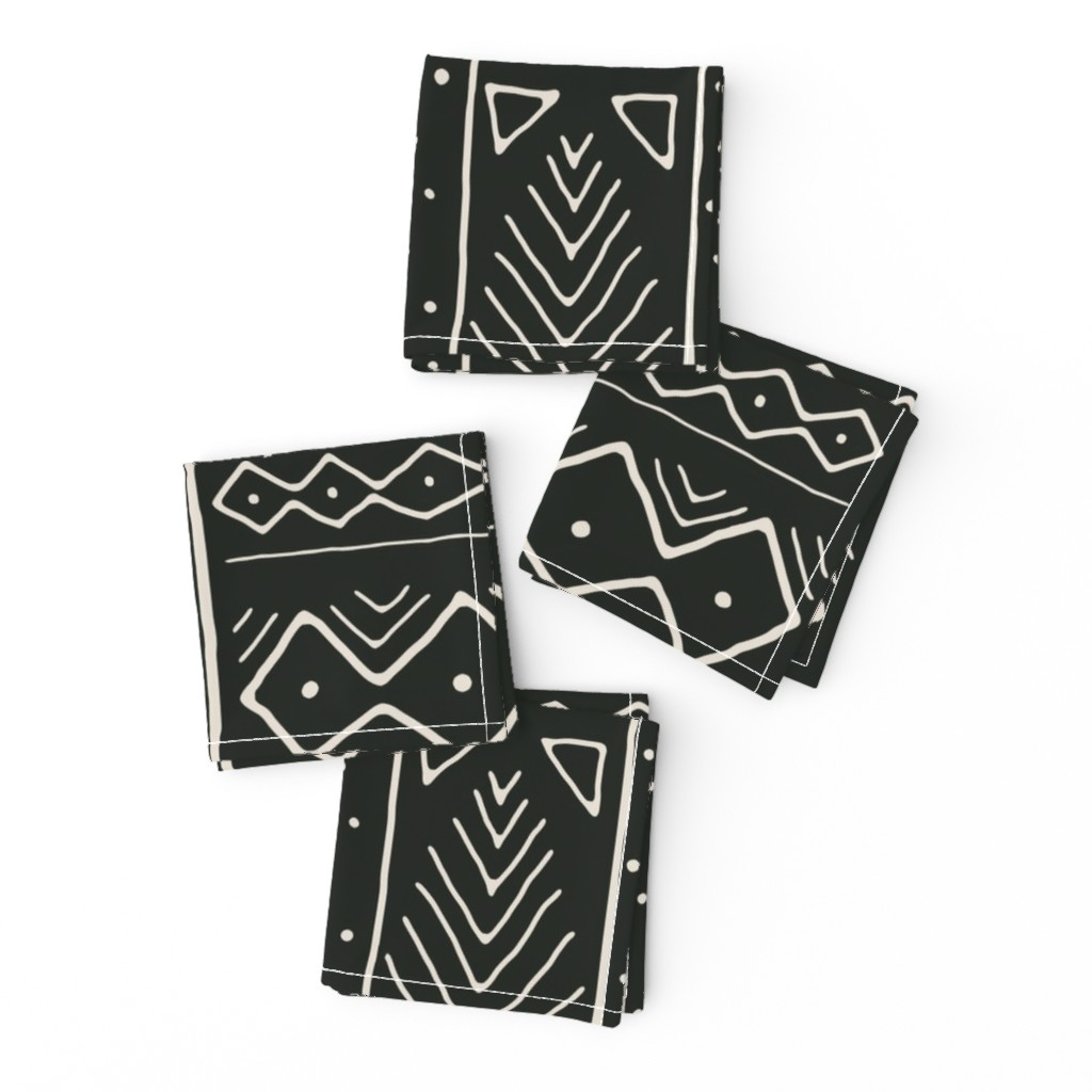 Frizzle Cocktail Napkins featuring Mudcloth in bone on black by domesticate