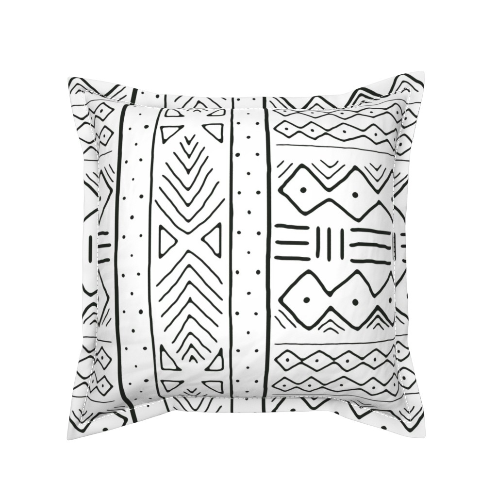 Serama Throw Pillow featuring Mudcloth in black on white by domesticate