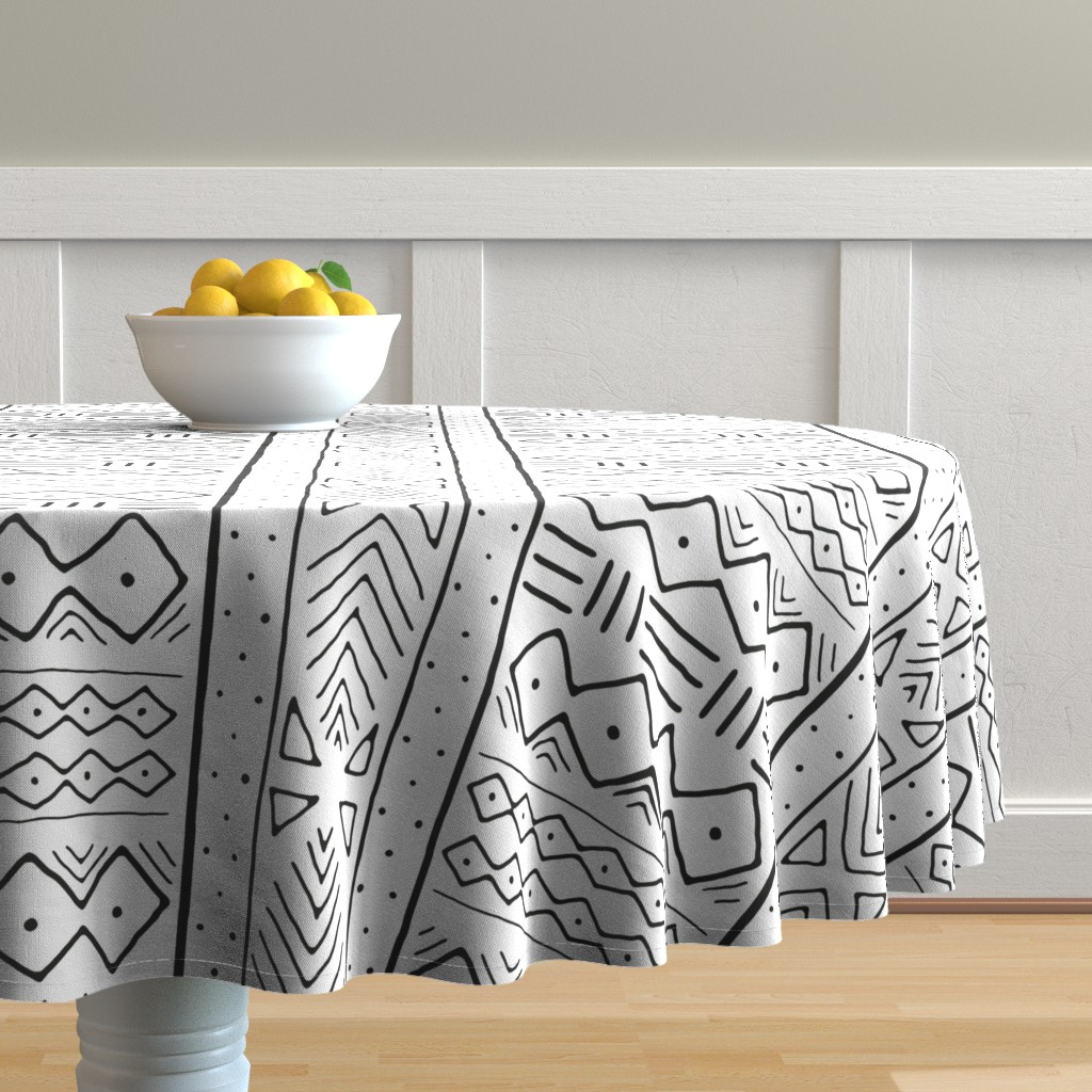 Malay Round Tablecloth featuring Mudcloth in black on white by domesticate