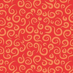 Whimsical Red Swirls